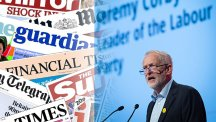 Composite image of newspapers and Jeremy Corbyn.