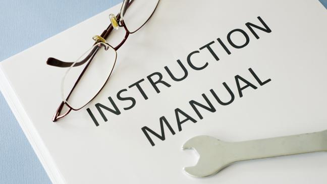 Instruction Manual With Glasses And Spanner