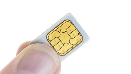 Sim card in fingers
