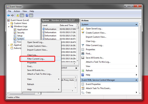 how to open event viewer in windows xp