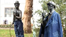 Charlie Chaplin and Sherlock Holmes statues in denim