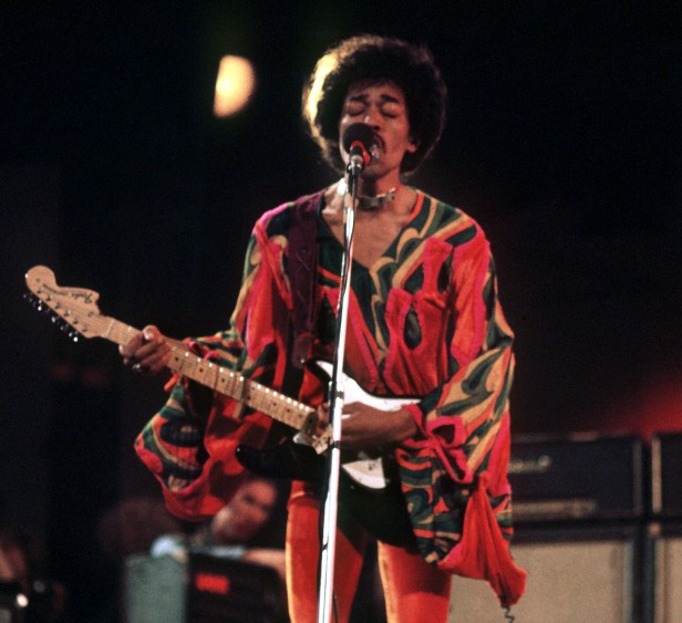 Hendrix performing at the Isle of Wight Festival a few months before his death.