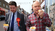 Will Scobie, Labour parliamentary candidate for South Thanet is joined by actor Ross Kemp during a General Election campaign walkabout in Broadstairs, Kent