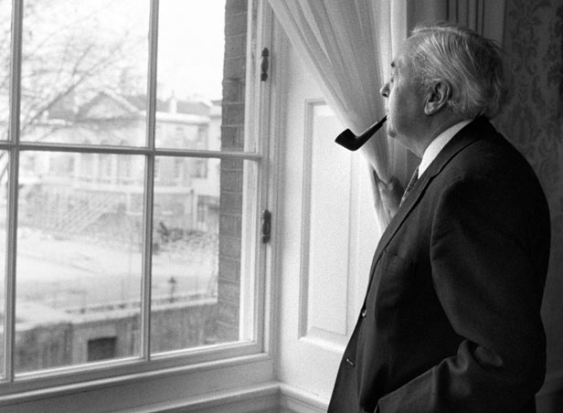 Harold Wilson takes in the view from 10 Downing Street on his last day as Prime Minister