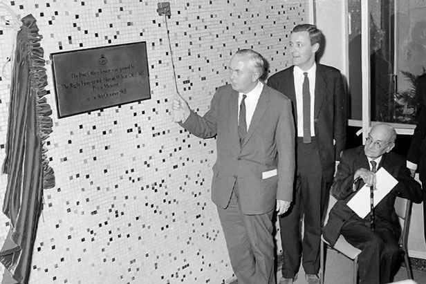 Prime Minister Harold Wilson, with Tony Benn and former Prime Minister Clement Attlee (seated), opens the tower.