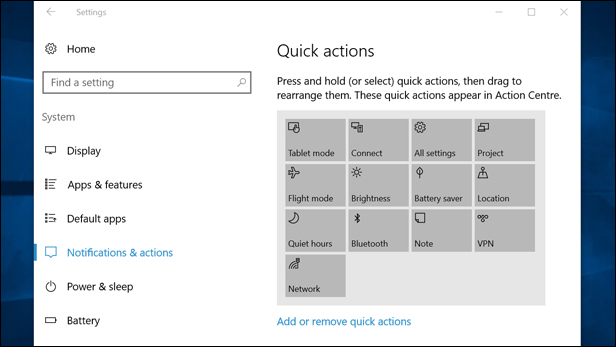 Editing Quick Actions in Windows 10
