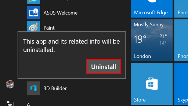 Uninstalling Windows 10 apps