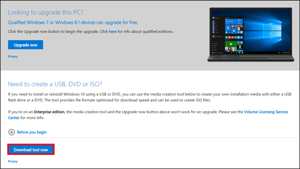 3. Download the Windows 10 Media Creation Tool