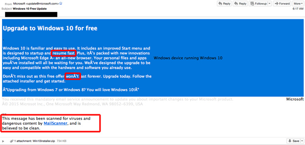 Windows 10 email scam