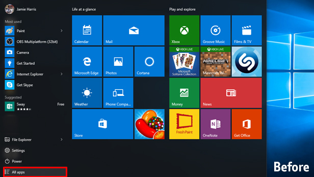 Windows 10 anniversary update what s new on the start menu