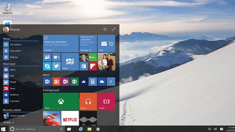 Windows 10 screenshot showing Start menu