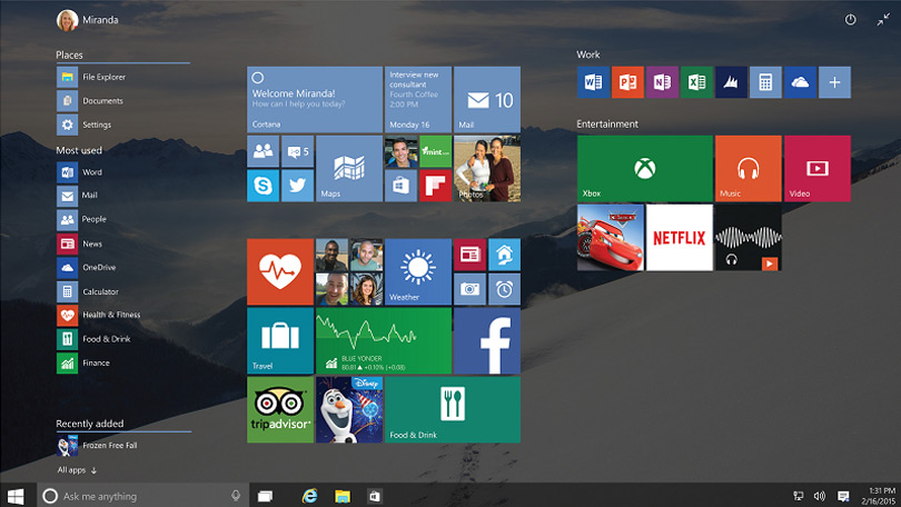In a move that will please windows 7 fans the start menu is back and