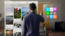 Windows 10 with person using HoloLens