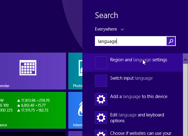 Windows 8.1 language settings