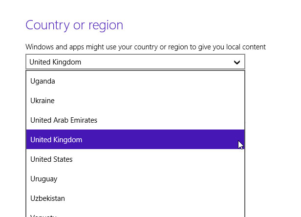 Windows 8.1 country setting
