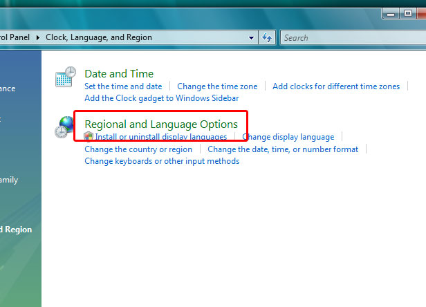 Windows Vista Regional and Language options