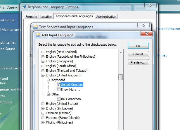 Windows Vista Input Language