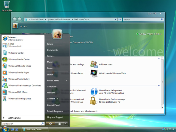 Windows Vista interface