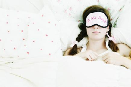 Woman in eye mask