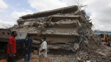The rubble of a collapsed building belonging to the Synagogue Church of All Nations in Lagos, Nigeria (AP)