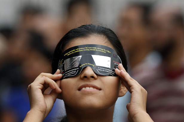 Person wearing Eclipse glasses