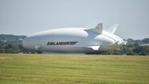 The Airlander 10 sits on the ground after crashing at Cardington airfield in Bedfordshire