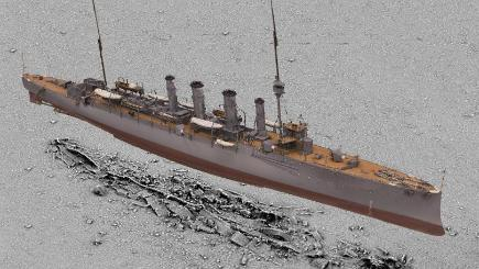 A 3D scan of HMS Falmouth superimposed on a seabed survey of the wreck by Historic England's imaging team (Historic England/PA)
