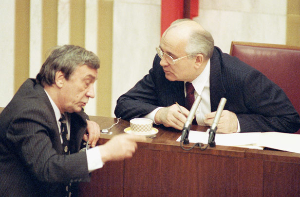 Mikhail Gorbachev, right, speaks with Vice President Gennady Yanayev during a break in session of the Supreme Soviet in Moscow on Thursday, March 7, 1991