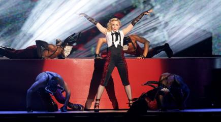 Yes, that was Madonna you saw falling over at the Brits