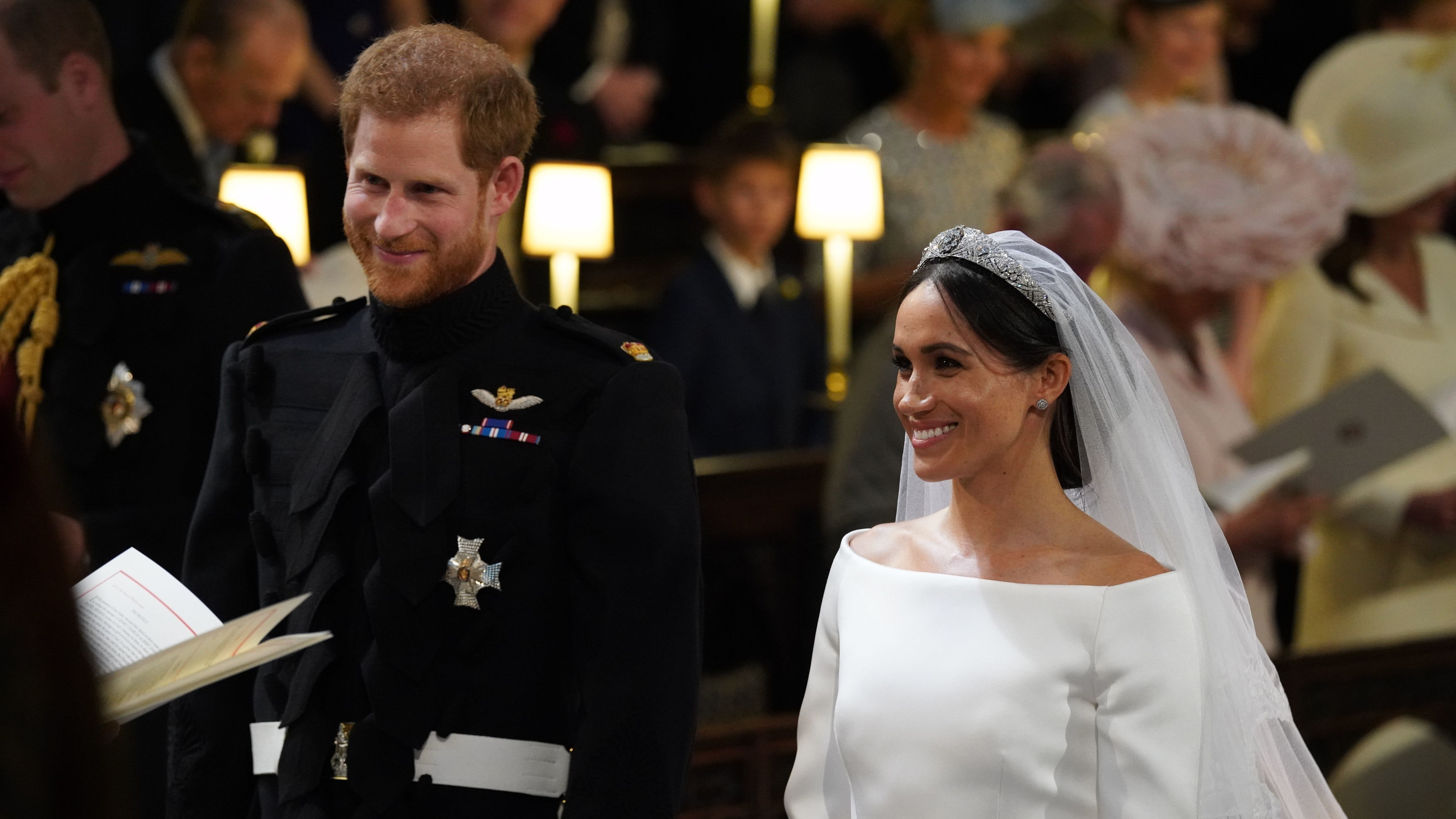 Harry and Meghan during the wedding
