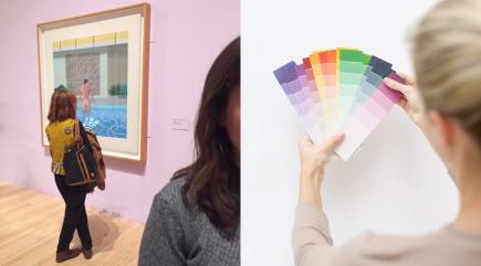 You'll never be as innovative as this lady taking paint samples to a David Hockney exhibition
