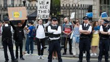 Anti-Brexit protesters demonstrate at the gates of Downing Street