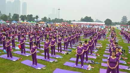 pregnant women set yoga world record  video  bt