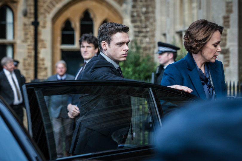 David Budd (RICHARD MADDEN), Julia Montague (KEELEY HAWES) in a scene from Bodyguard. Photo credit: BBC