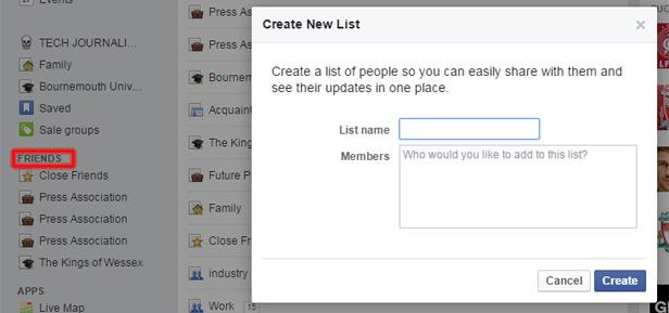 Facebook screenshot Friend list