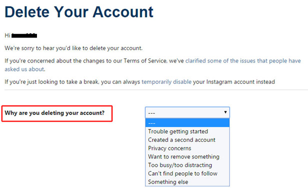 Instagram Delete Account page
