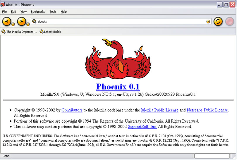 Screenshot of Mozilla Phoenix v1 browser