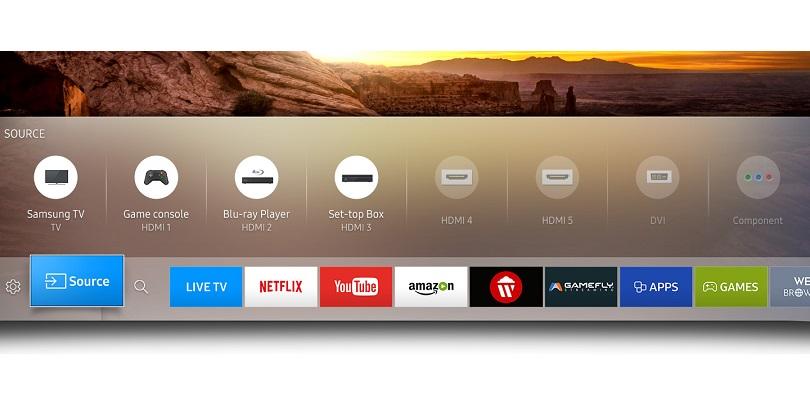 Samsung Smart Hub Tizen menu bar