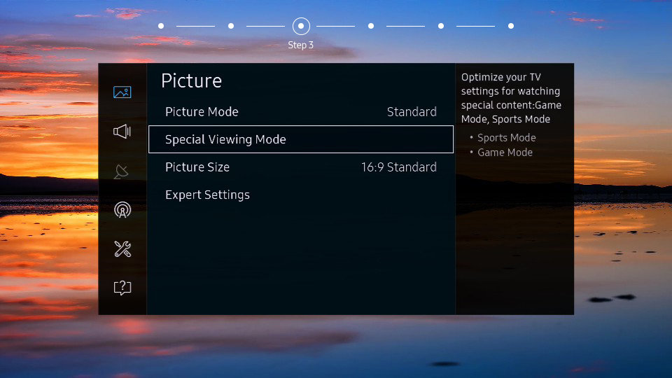 Picture control menu on a Samsung SUHD TV