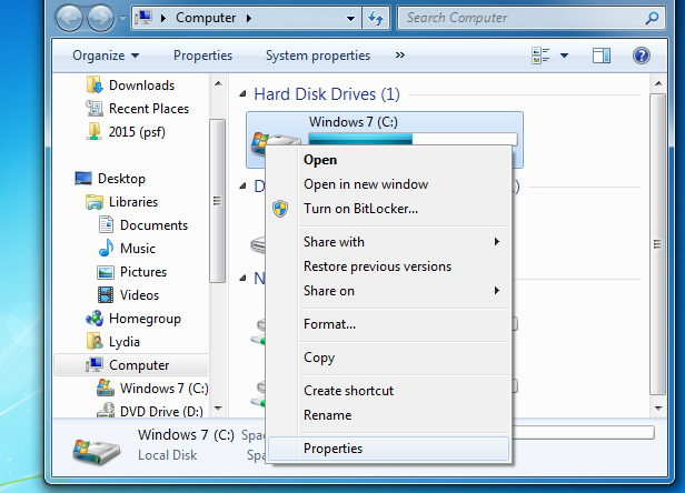 Windows 7 hard drive properties