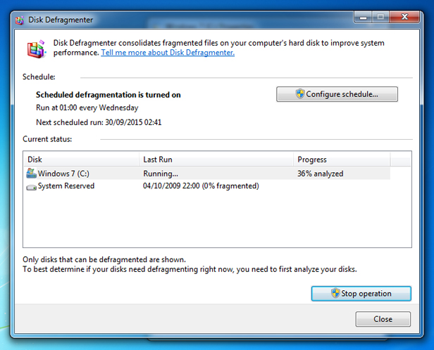 Windows 7 disk defrag