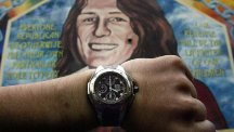 A mural of IRA member Bobby Sands at 4pm, the time members were asked to stand down.