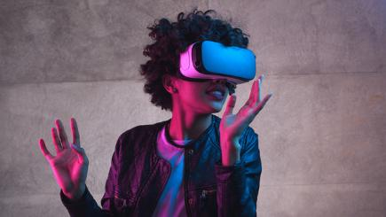 Girl using VR headset 6