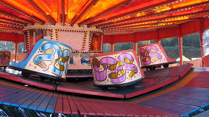 A photo of an empty waltzer ride taken in the year of its closure, 2003.