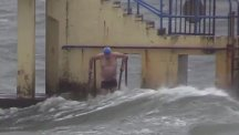 A swimmer off the coast of Galway during Storm Ophelia