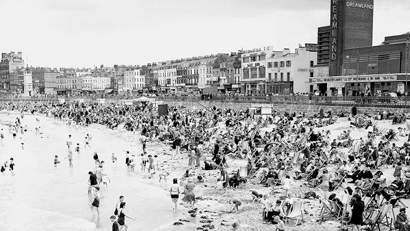 A view of the beachfront at Margate from the Marine Bathing Pavilion taken in 1946.
