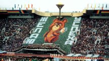 A wall of cards displays the Games' mascot, Misha the Bear, at the Opening Ceremony at the Lenin Stadium, Moscow.