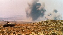 An Israeli tank fires on Arab forces in Syria during the Six-Day War.