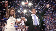 Arnold Schwarzenegger and wife Maria Shriver celebrate his election victory.