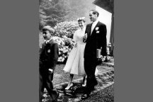 Audrey wore a typically full-skirted fifties frock by Balmain to wed Mel Ferrer in 1954.